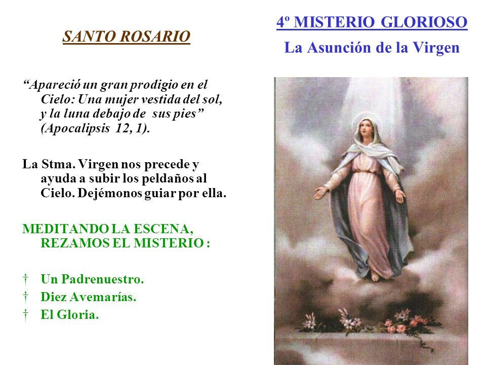 4º MISTERIO GLORIOSO La Asunción de la Virgen SANTO ROSARIO Apareció un gran prodigio en el Cielo: Una mujer vestida del sol, y la luna debajo de sus