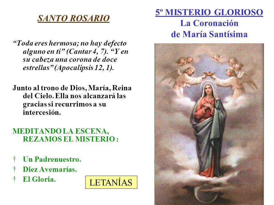 5º MISTERIO GLORIOSO La Coronación de María Santísima SANTO ROSARIO Toda eres hermosa; no hay defecto alguno en ti (Cantar 4, 7). Y en su cabeza una c