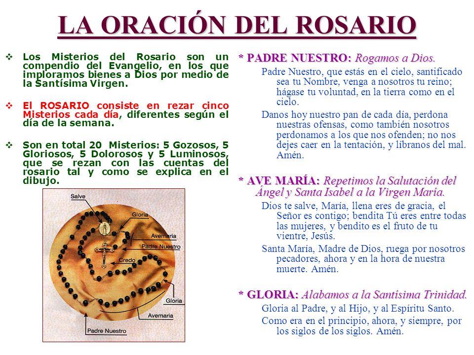 LA ORACIÓN DEL ROSARIO Los Misterios del Rosario son un compendio del Evangelio, en los que imploramos bienes a Dios por medio de la Santísima Virgen.