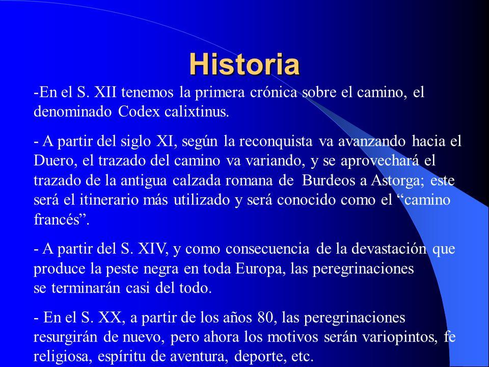 Historia -En el S. XII tenemos la primera crónica sobre el camino, el denominado Codex calixtinus. - A partir del siglo XI, según la reconquista va av