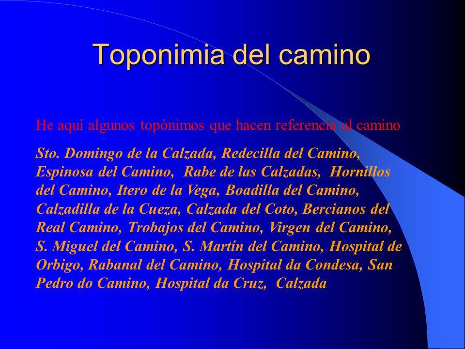 He aquí algunos topónimos que hacen referencia al camino Sto. Domingo de la Calzada, Redecilla del Camino, Espinosa del Camino, Rabe de las Calzadas,