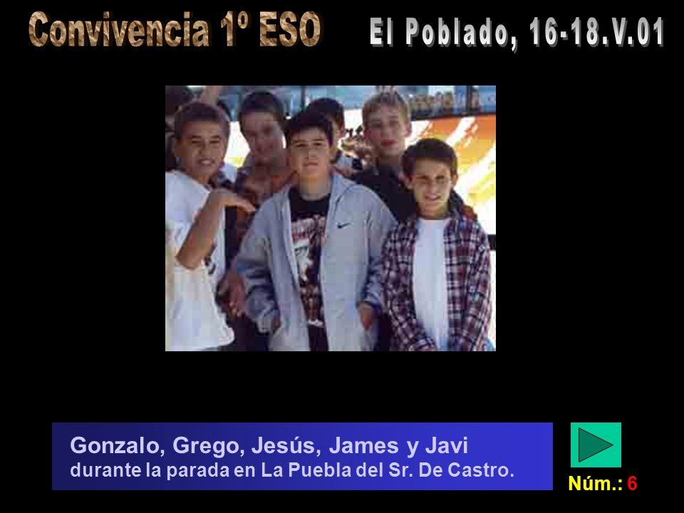 Núm.: 6 Gonzalo, Grego, Jesús, James y Javi durante la parada en La Puebla del Sr. De Castro.