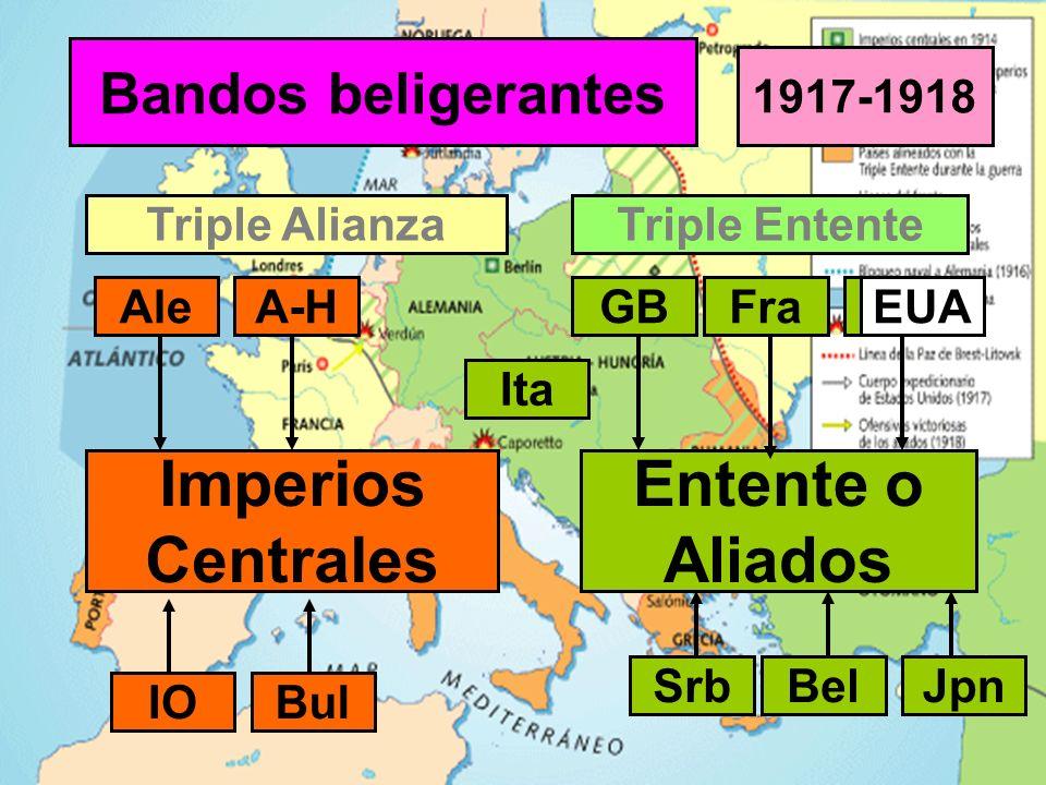 Bandos beligerantes Imperios Centrales Triple Alianza Entente o Aliados Triple Entente AleA-H Ita GBFraRus 1917-1918 IO SrbBel Bul EUA Jpn