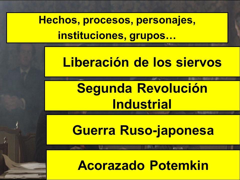 Hechos, procesos, personajes, instituciones, grupos… Liberación de los siervos Acorazado Potemkin Segunda Revolución Industrial Guerra Ruso-japonesa