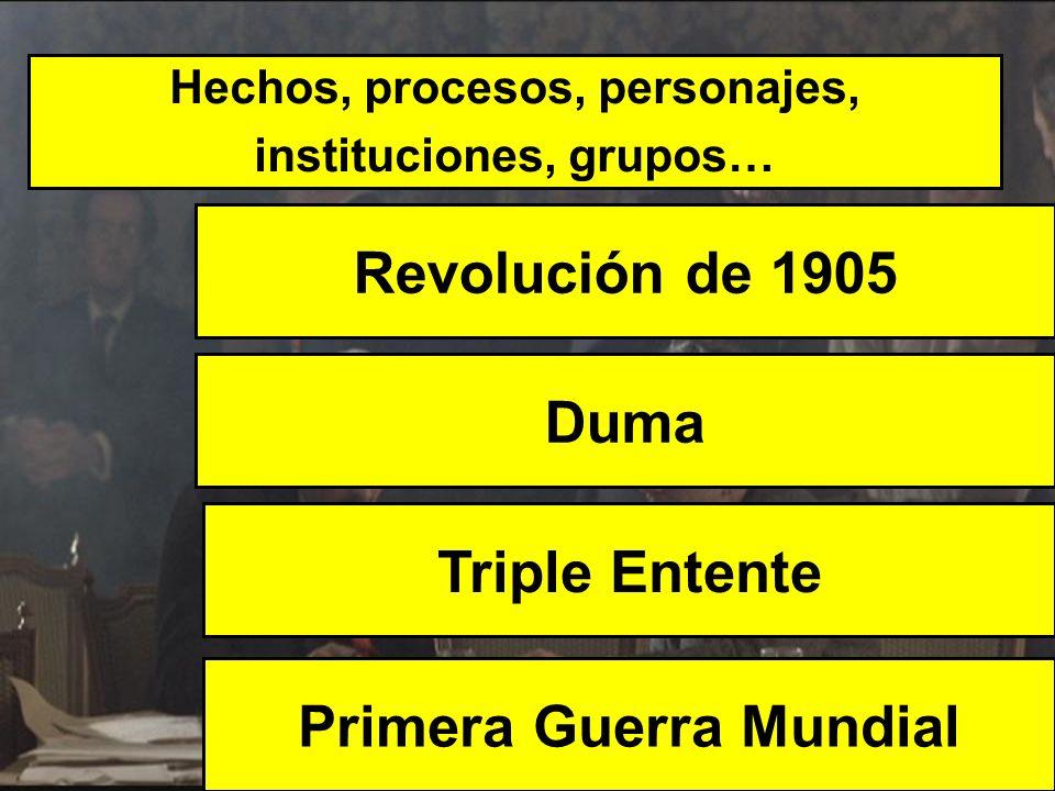 Hechos, procesos, personajes, instituciones, grupos… Revolución de 1905 Primera Guerra Mundial Duma Triple Entente