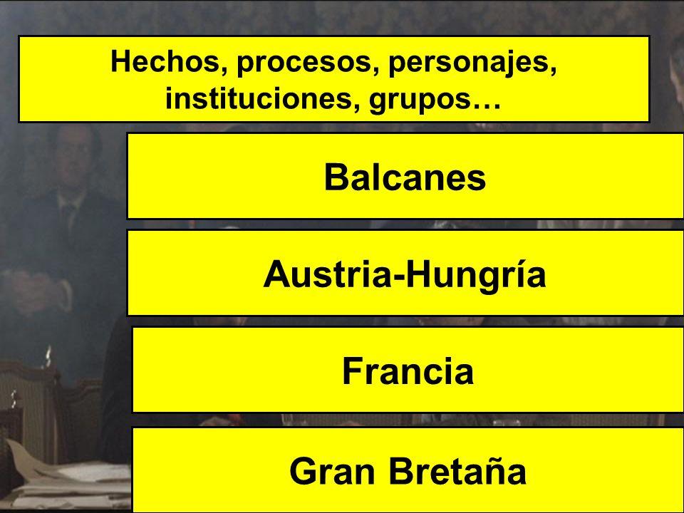 Hechos, procesos, personajes, instituciones, grupos… Balcanes Gran Bretaña Austria-Hungría Francia