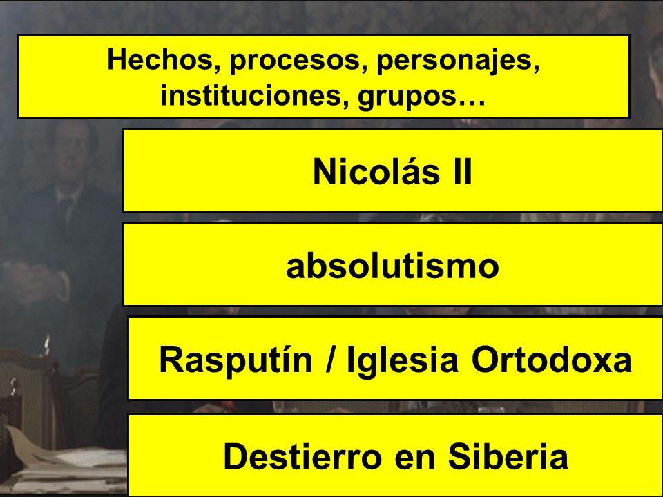 Hechos, procesos, personajes, instituciones, grupos… Nicolás II Destierro en Siberia absolutismo Rasputín / Iglesia Ortodoxa