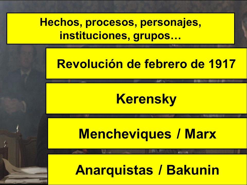 Hechos, procesos, personajes, instituciones, grupos… Revolución de febrero de 1917 Anarquistas / Bakunin Kerensky Mencheviques / Marx