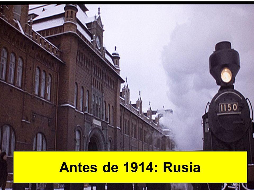 Rusia: potencia atrasada Economía: revolución industrial muy tardía Política: Imperio zarista (absolutismo) Política exterior: imperialismo (Asia Central, Extremo Oriente y Balcanes)