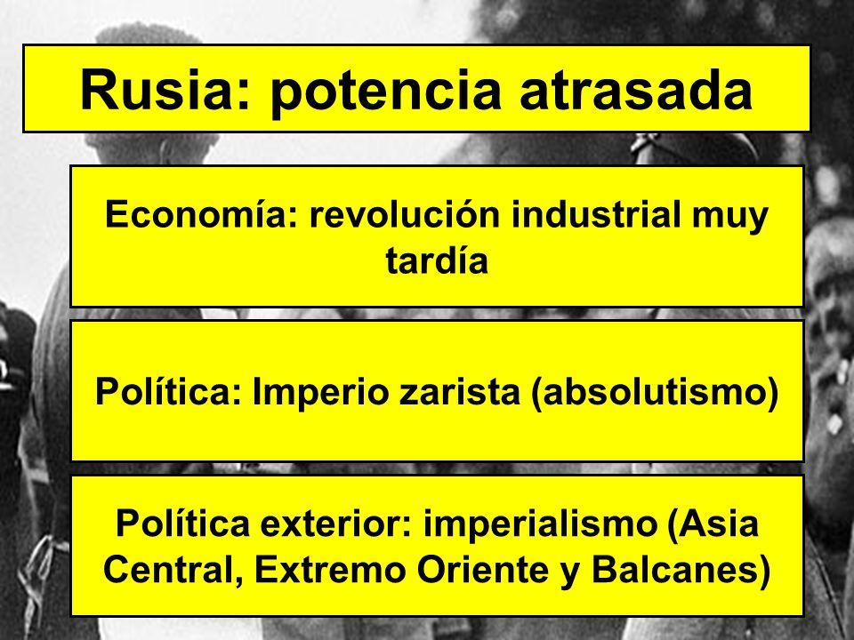 Rusia: potencia atrasada Economía: revolución industrial muy tardía Política: Imperio zarista (absolutismo) Política exterior: imperialismo (Asia Cent