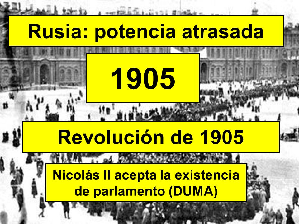 Rusia: potencia atrasada 1905 Nicolás II acepta la existencia de parlamento (DUMA) Revolución de 1905