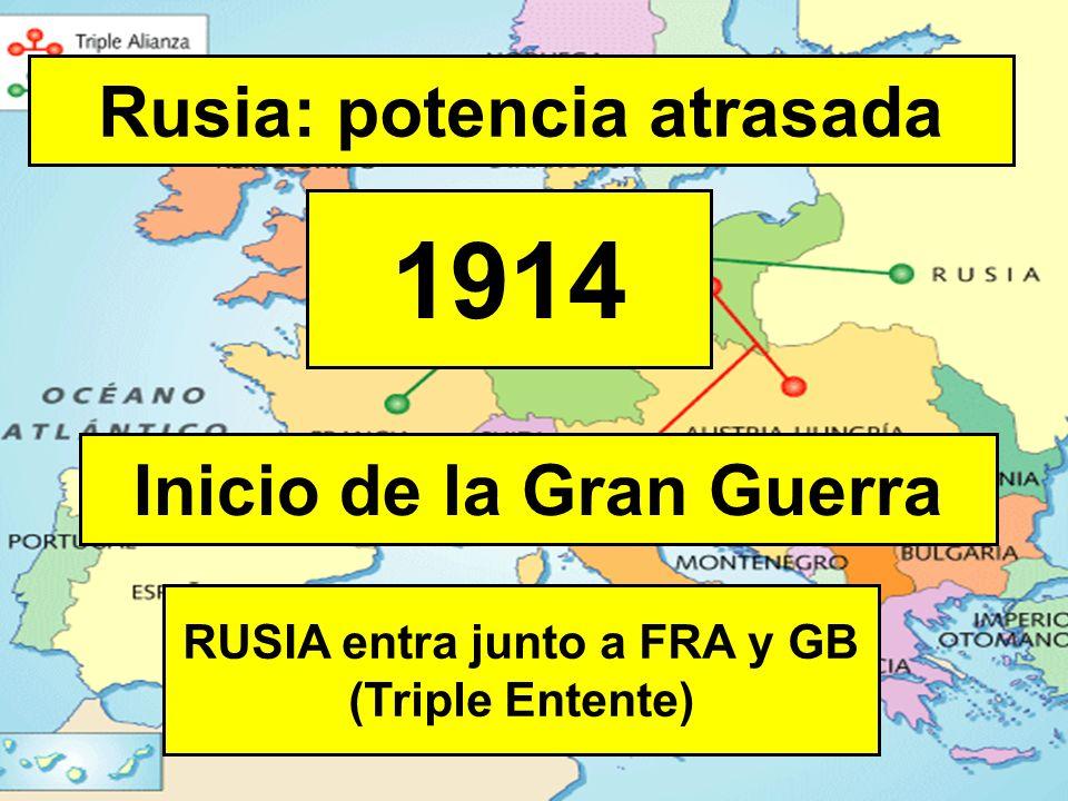 Rusia: potencia atrasada 1914 RUSIA entra junto a FRA y GB (Triple Entente) Inicio de la Gran Guerra