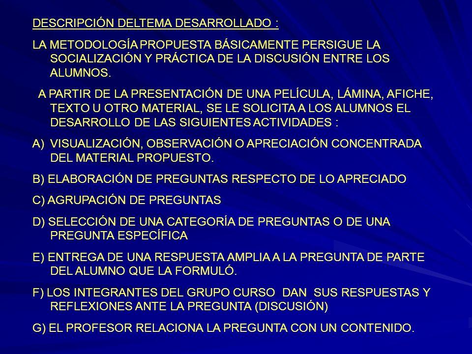 DESCRIPCIÓN DELTEMA DESARROLLADO : LA METODOLOGÍA PROPUESTA BÁSICAMENTE PERSIGUE LA SOCIALIZACIÓN Y PRÁCTICA DE LA DISCUSIÓN ENTRE LOS ALUMNOS. A PART