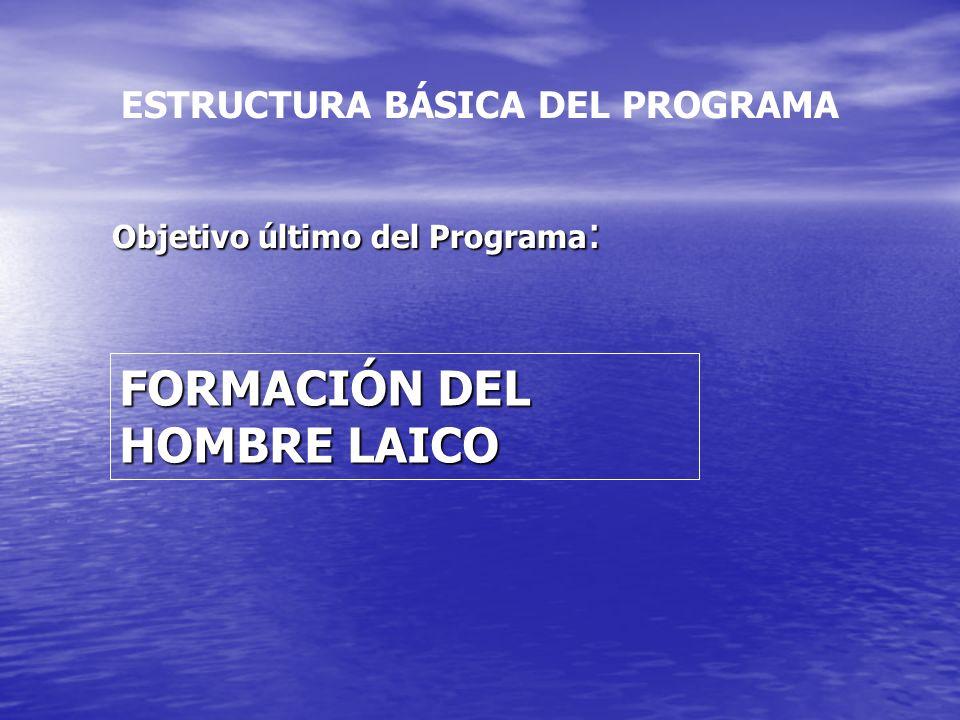ESTRUCTURA BÁSICA DEL PROGRAMA Objetivo último del Programa : FORMACIÓN DEL HOMBRE LAICO