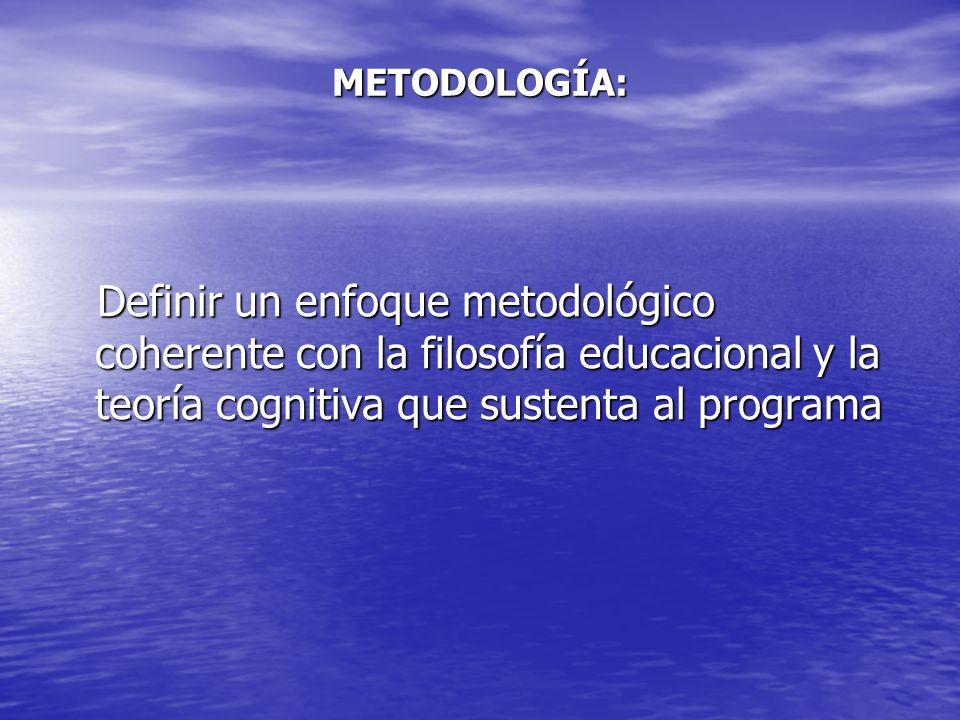 METODOLOGÍA: Definir un enfoque metodológico coherente con la filosofía educacional y la teoría cognitiva que sustenta al programa