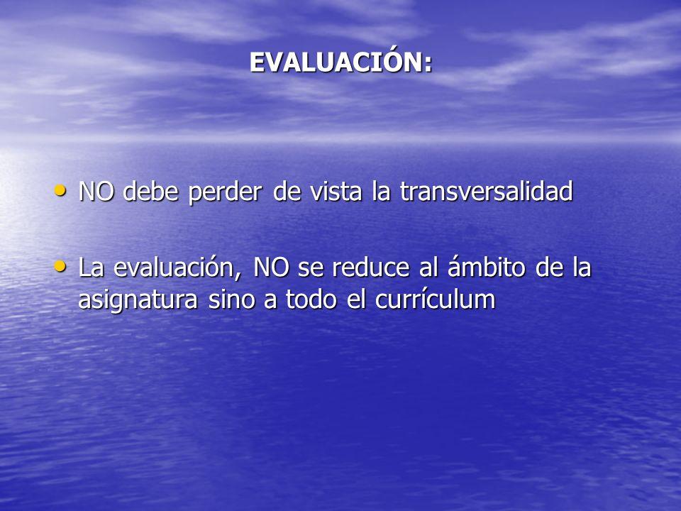 EVALUACIÓN: NO debe perder de vista la transversalidad NO debe perder de vista la transversalidad La evaluación, NO se reduce al ámbito de la asignatu