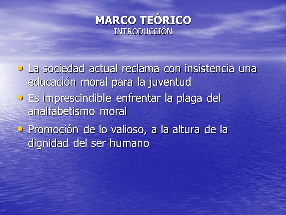 MARCO TEÓRICO INTRODUCCIÓN La sociedad actual reclama con insistencia una educación moral para la juventud La sociedad actual reclama con insistencia