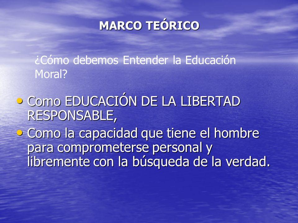 MARCO TEÓRICO Como EDUCACIÓN DE LA LIBERTAD RESPONSABLE, Como EDUCACIÓN DE LA LIBERTAD RESPONSABLE, Como la capacidad que tiene el hombre para comprom