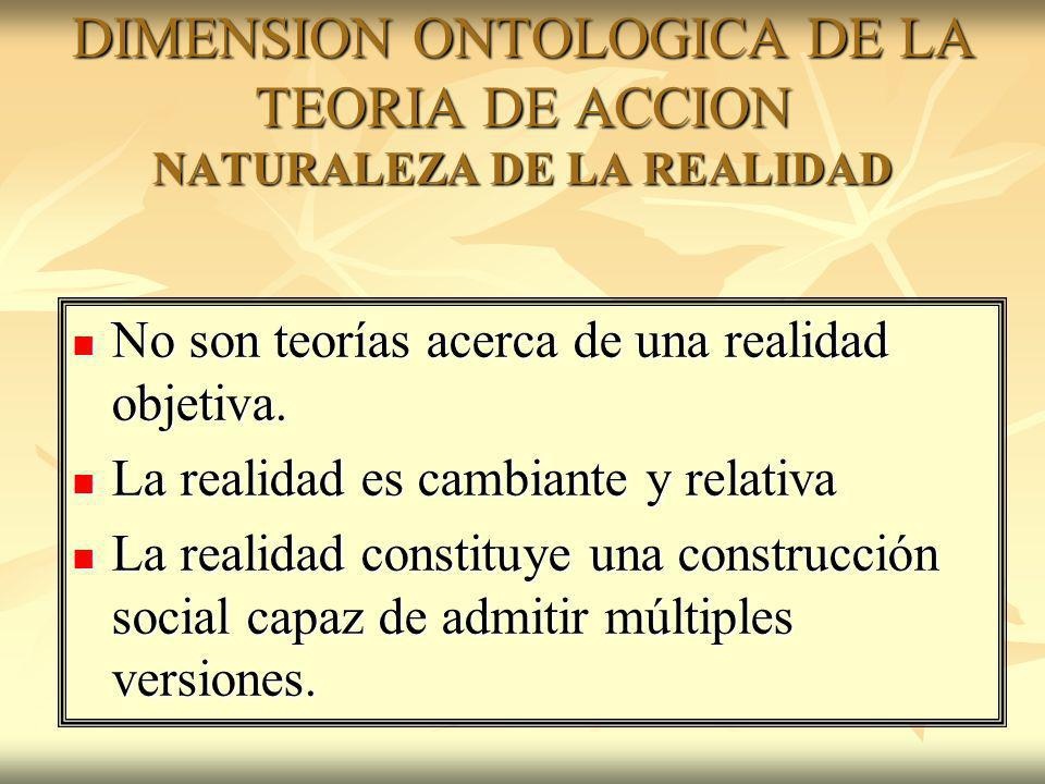 DIMENSION ONTOLOGICA DE LA TEORIA DE ACCION NATURALEZA DE LA REALIDAD No son teorías acerca de una realidad objetiva. No son teorías acerca de una rea