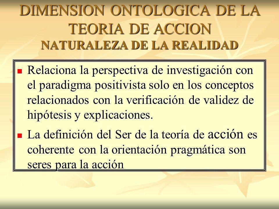 DIMENSION ONTOLOGICA DE LA TEORIA DE ACCION NATURALEZA DE LA REALIDAD Relaciona la perspectiva de investigación con el paradigma positivista solo en l