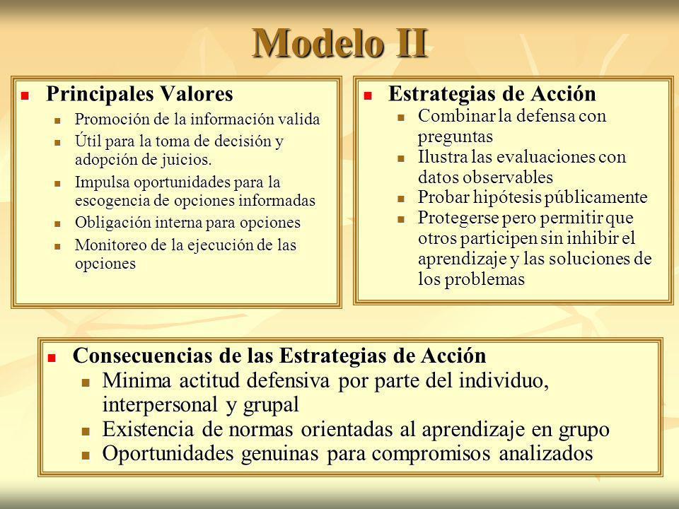Modelo II Principales Valores Principales Valores Promoción de la información valida Promoción de la información valida Útil para la toma de decisión