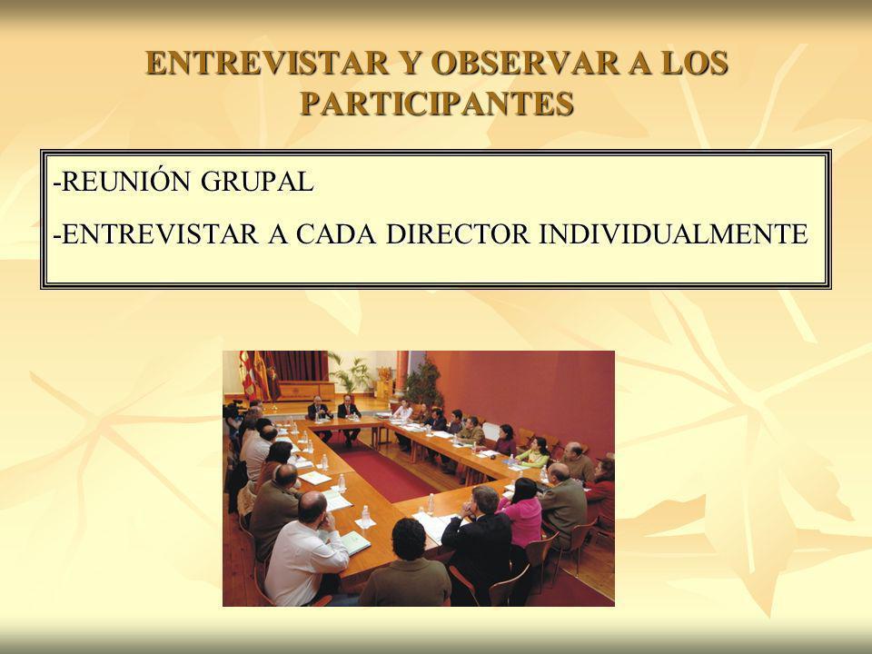 ENTREVISTAR Y OBSERVAR A LOS PARTICIPANTES -REUNIÓN GRUPAL -ENTREVISTAR A CADA DIRECTOR INDIVIDUALMENTE