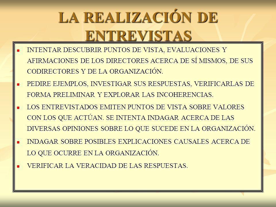 LA REALIZACIÓN DE ENTREVISTAS INTENTAR DESCUBRIR PUNTOS DE VISTA, EVALUACIONES Y AFIRMACIONES DE LOS DIRECTORES ACERCA DE SÍ MISMOS, DE SUS CODIRECTOR