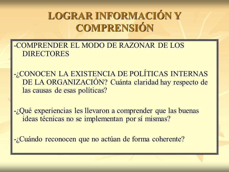 LOGRAR INFORMACIÓN Y COMPRENSIÓN -COMPRENDER EL MODO DE RAZONAR DE LOS DIRECTORES -¿CONOCEN LA EXISTENCIA DE POLÍTICAS INTERNAS DE LA ORGANIZACIÓN? Cu