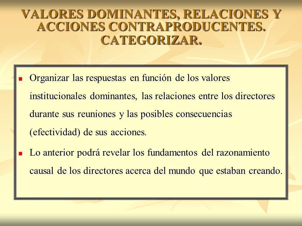 VALORES DOMINANTES, RELACIONES Y ACCIONES CONTRAPRODUCENTES. CATEGORIZAR. Organizar las respuestas en función de los valores institucionales dominante