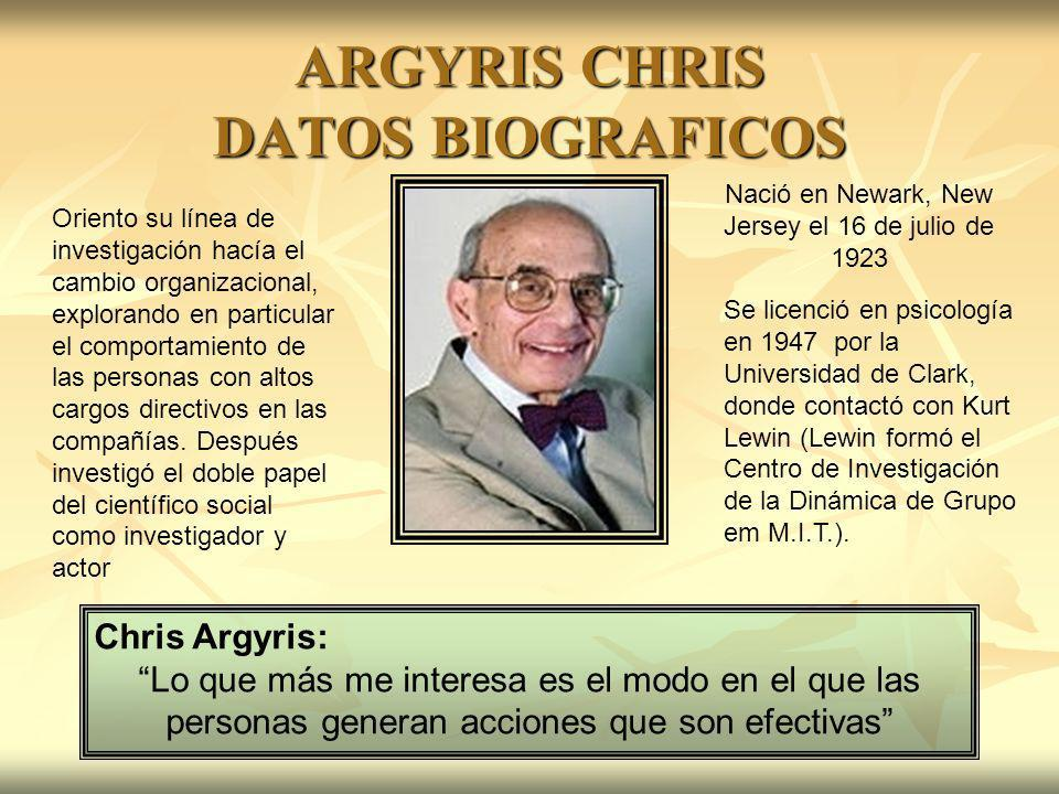 ARGYRIS CHRIS DATOS BIOGRAFICOS Chris Argyris: Lo que más me interesa es el modo en el que las personas generan acciones que son efectivas Nació en Ne