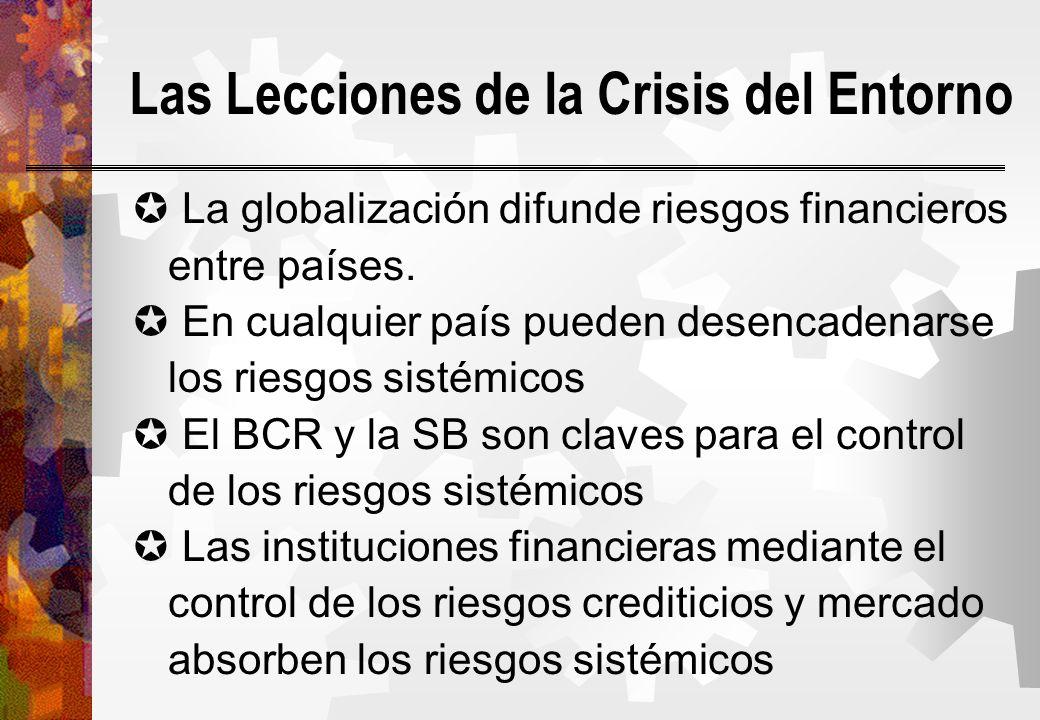 Las Lecciones de la Crisis del Entorno La globalización difunde riesgos financieros entre países. En cualquier país pueden desencadenarse los riesgos