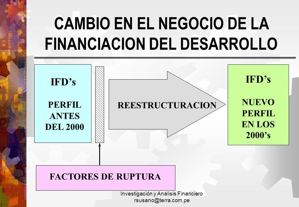Investigación y Análisis Financiero rsusano@terra.com.pe CAMBIO EN EL NEGOCIO DE LA FINANCIACION DEL DESARROLLO IFDs PERFIL ANTES DEL 2000 FACTORES DE