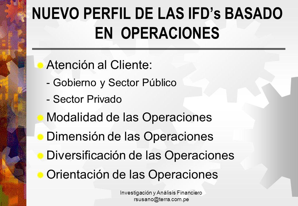Investigación y Análisis Financiero rsusano@terra.com.pe NUEVO PERFIL DE LAS IFDs BASADO EN OPERACIONES Atención al Cliente: - Gobierno y Sector Públi