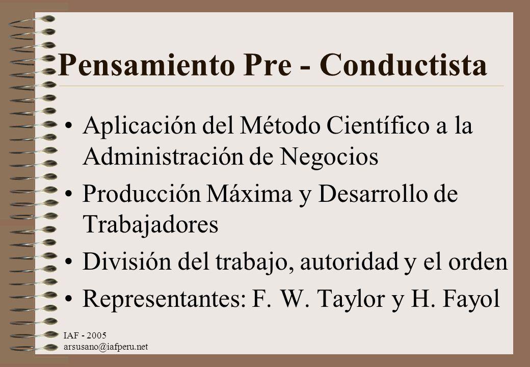 IAF - 2005 arsusano@iafperu.net Pensamiento Pre - Conductista Aplicación del Método Científico a la Administración de Negocios Producción Máxima y Des