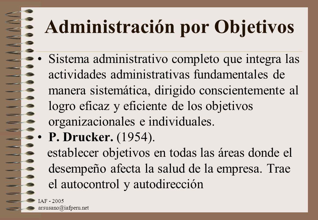 IAF - 2005 arsusano@iafperu.net Administración por Objetivos Sistema administrativo completo que integra las actividades administrativas fundamentales