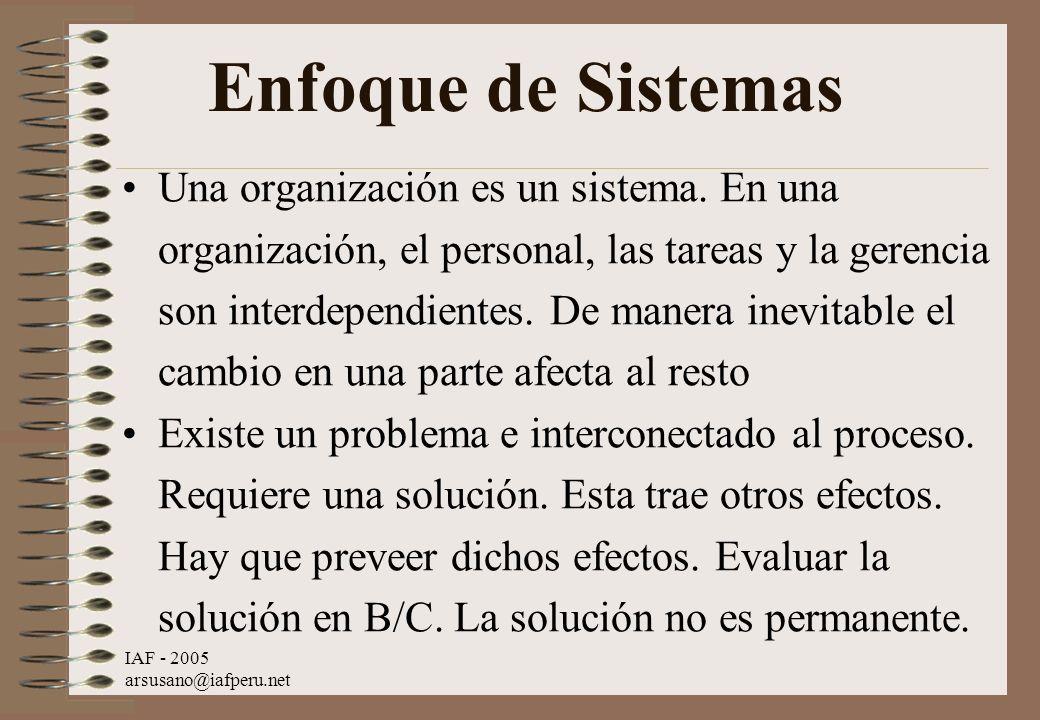 IAF - 2005 arsusano@iafperu.net Enfoque de Sistemas Una organización es un sistema. En una organización, el personal, las tareas y la gerencia son int