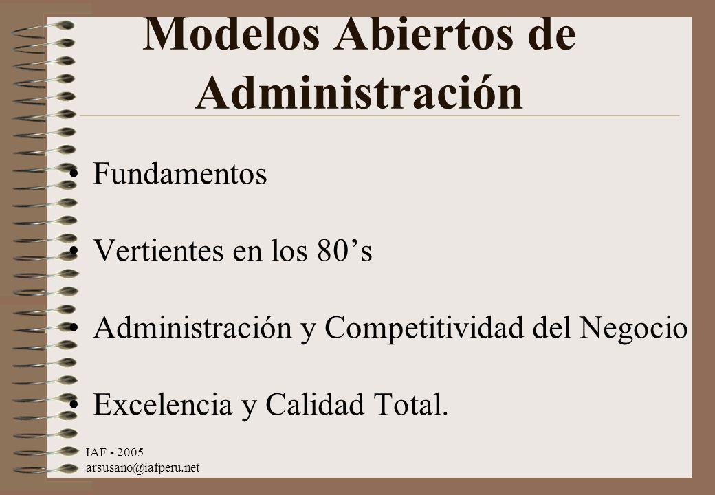 IAF - 2005 arsusano@iafperu.net Modelos Abiertos de Administración Fundamentos Vertientes en los 80s Administración y Competitividad del Negocio Excel