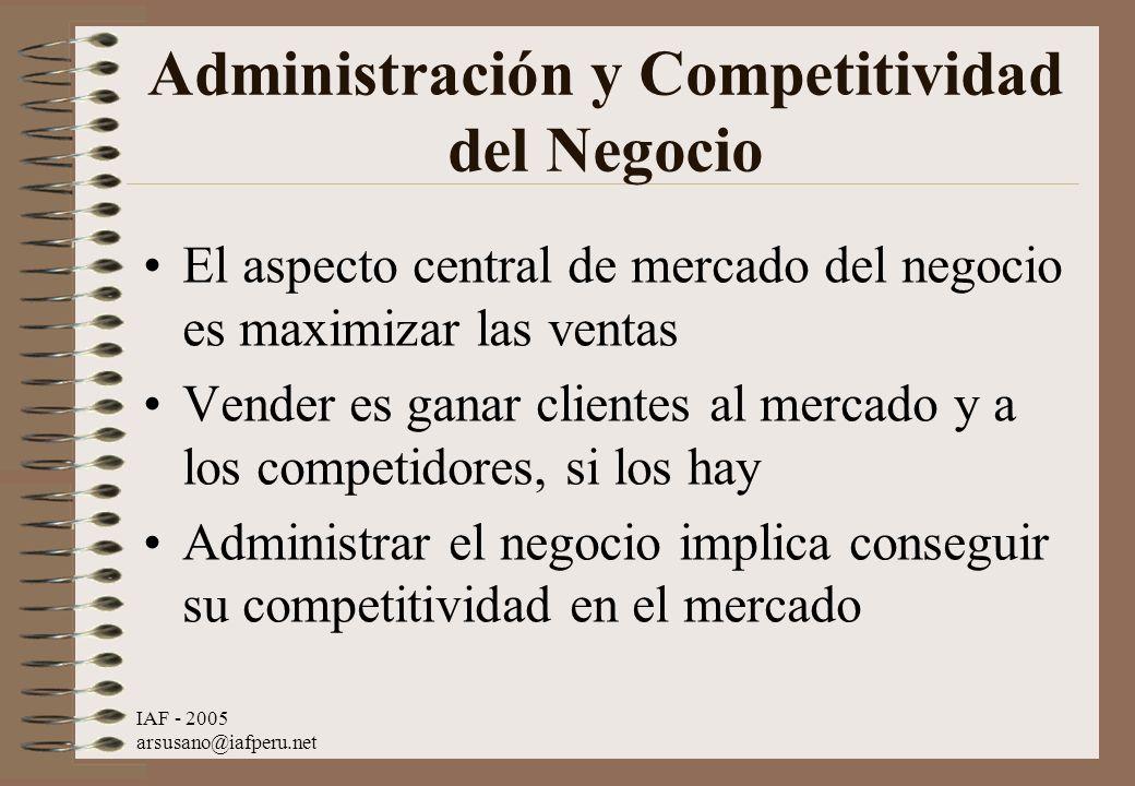 IAF - 2005 arsusano@iafperu.net Administración y Competitividad del Negocio El aspecto central de mercado del negocio es maximizar las ventas Vender e