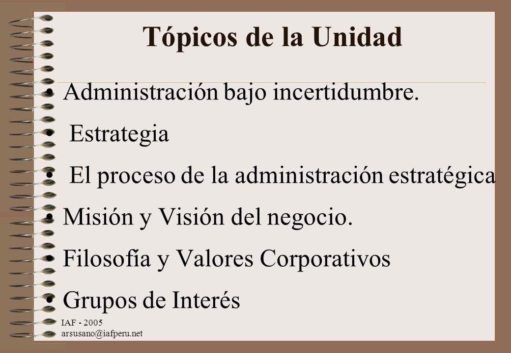 IAF - 2005 arsusano@iafperu.net Tópicos de la Unidad Administración bajo incertidumbre. Estrategia El proceso de la administración estratégica Misión