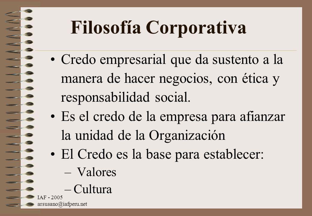 IAF - 2005 arsusano@iafperu.net Filosofía Corporativa Credo empresarial que da sustento a la manera de hacer negocios, con ética y responsabilidad soc