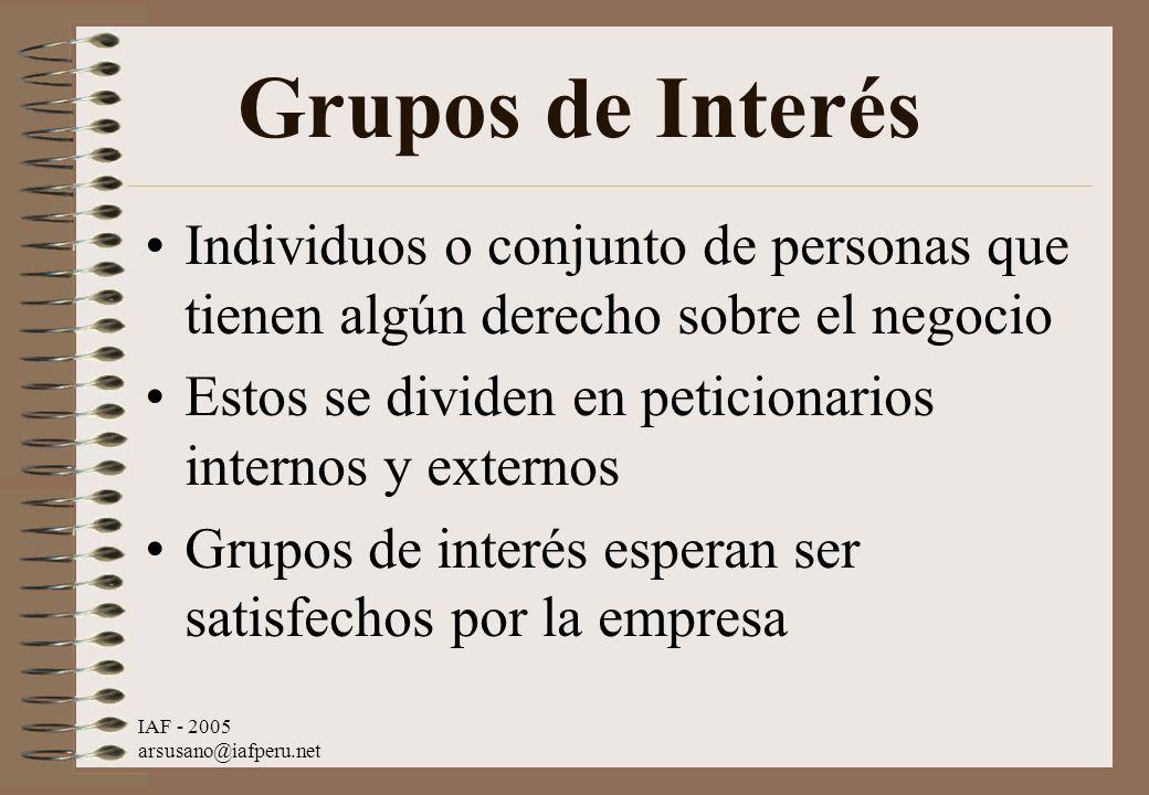 IAF - 2005 arsusano@iafperu.net Grupos de Interés Individuos o conjunto de personas que tienen algún derecho sobre el negocio Estos se dividen en peti