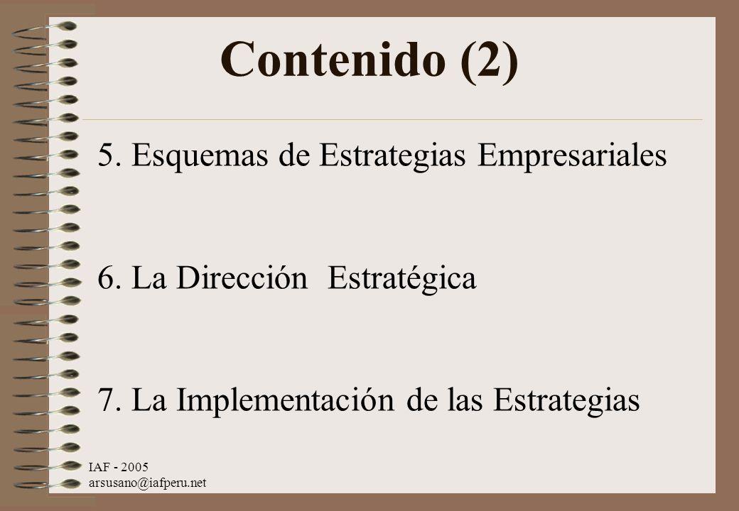 IAF - 2005 arsusano@iafperu.net Contenido (2) 5. Esquemas de Estrategias Empresariales 6. La Dirección Estratégica 7. La Implementación de las Estrate