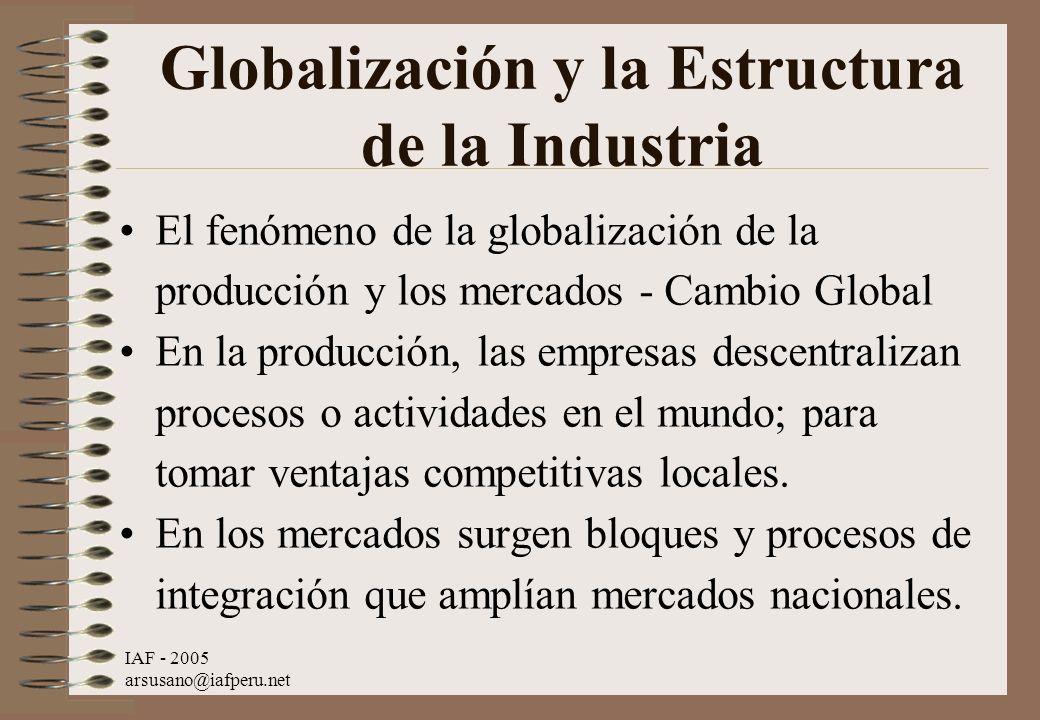 IAF - 2005 arsusano@iafperu.net Globalización y la Estructura de la Industria El fenómeno de la globalización de la producción y los mercados - Cambio