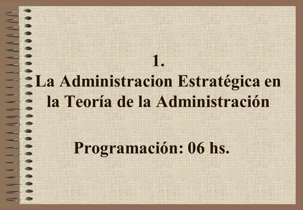 1. La Administracion Estratégica en la Teoría de la Administración Programación: 06 hs.