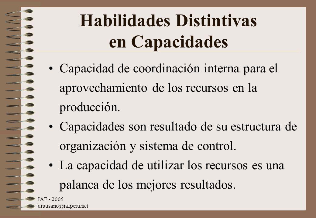 IAF - 2005 arsusano@iafperu.net Habilidades Distintivas en Capacidades Capacidad de coordinación interna para el aprovechamiento de los recursos en la