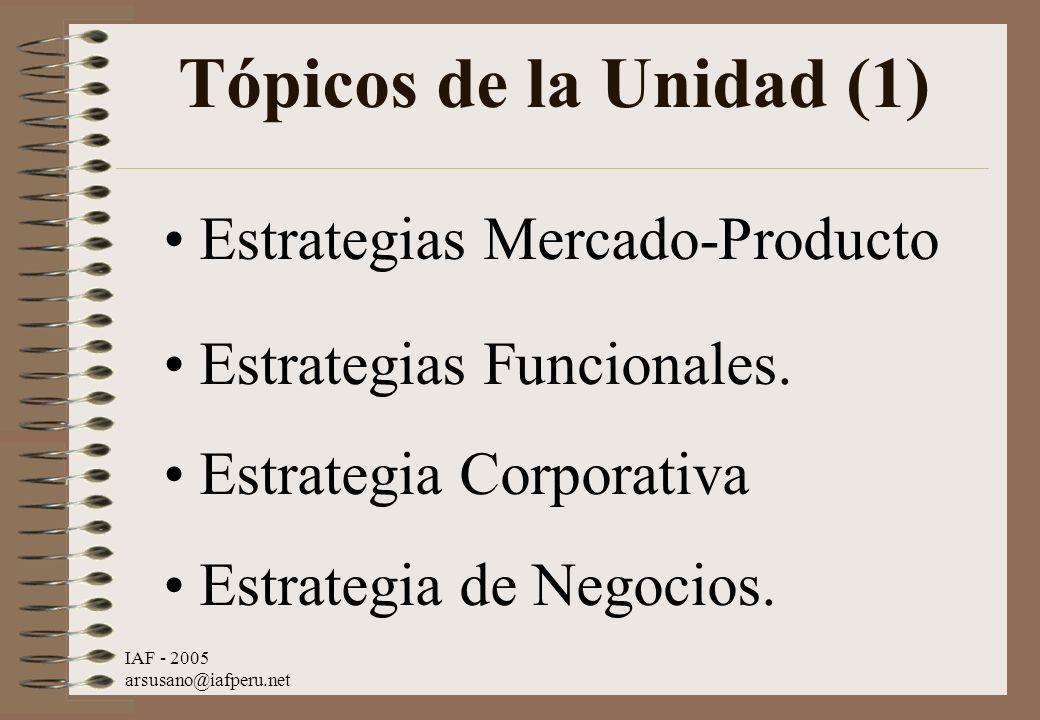 IAF - 2005 arsusano@iafperu.net Tópicos de la Unidad (1) Estrategias Mercado-Producto Estrategias Funcionales. Estrategia Corporativa Estrategia de Ne