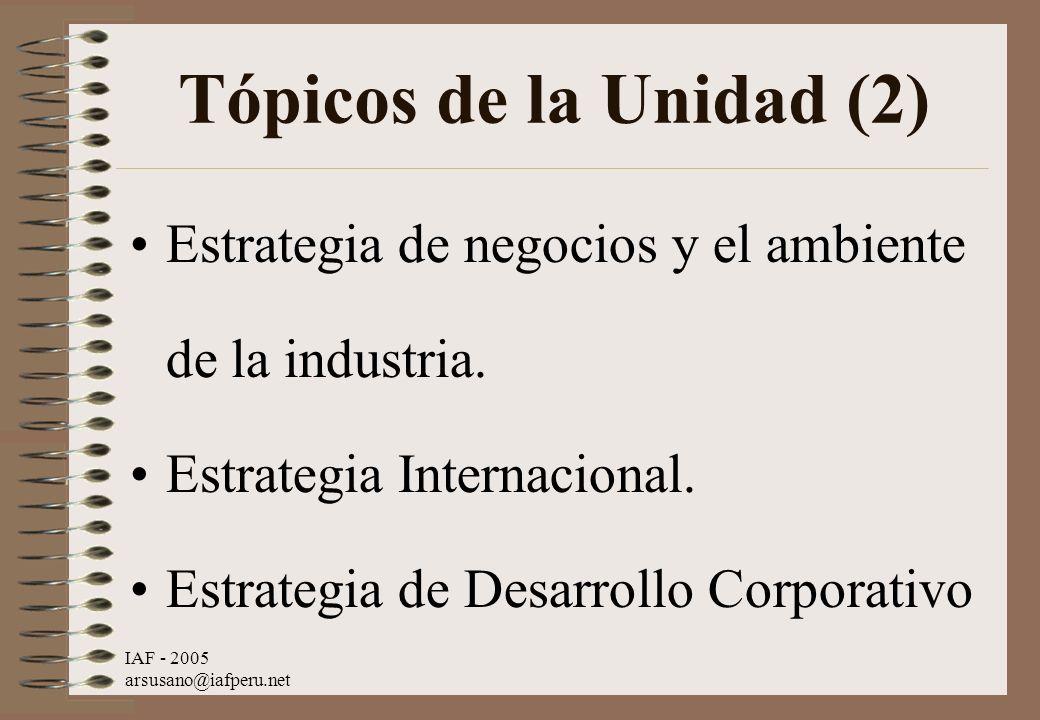 IAF - 2005 arsusano@iafperu.net Tópicos de la Unidad (2) Estrategia de negocios y el ambiente de la industria. Estrategia Internacional. Estrategia de