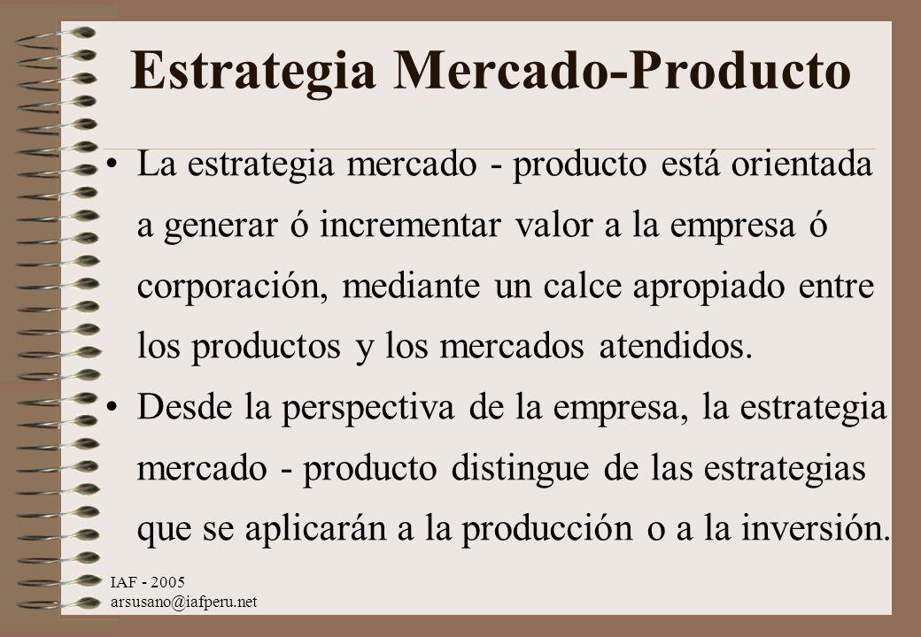 IAF - 2005 arsusano@iafperu.net Estrategia Mercado-Producto La estrategia mercado - producto está orientada a generar ó incrementar valor a la empresa
