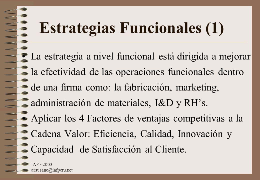 IAF - 2005 arsusano@iafperu.net Estrategias Funcionales (1) La estrategia a nivel funcional está dirigida a mejorar la efectividad de las operaciones