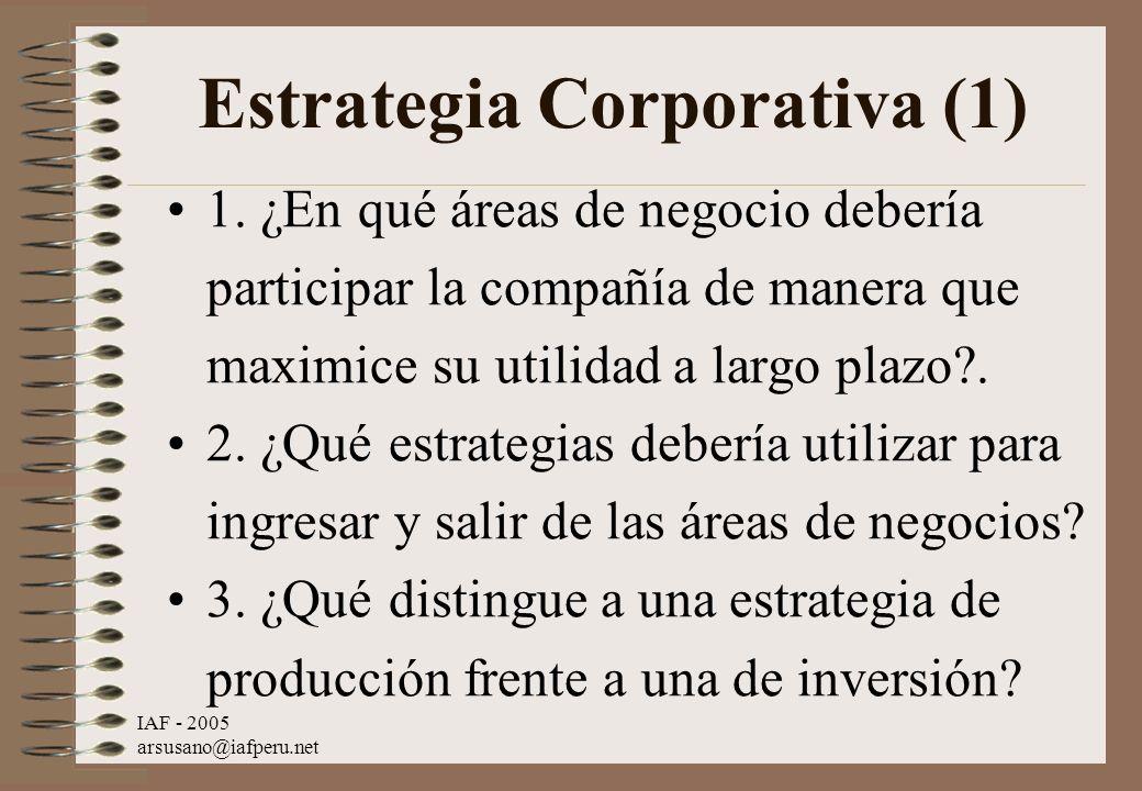 IAF - 2005 arsusano@iafperu.net Estrategia Corporativa (1) 1. ¿En qué áreas de negocio debería participar la compañía de manera que maximice su utilid